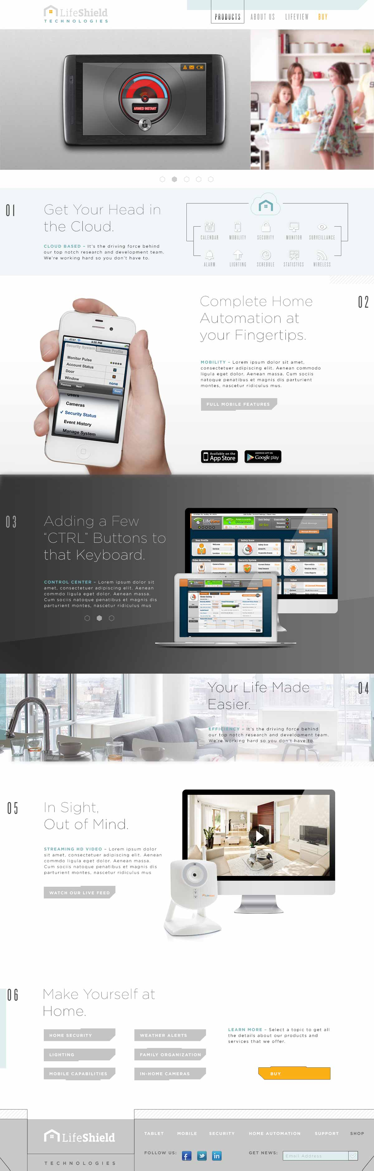 LifeShield home page design