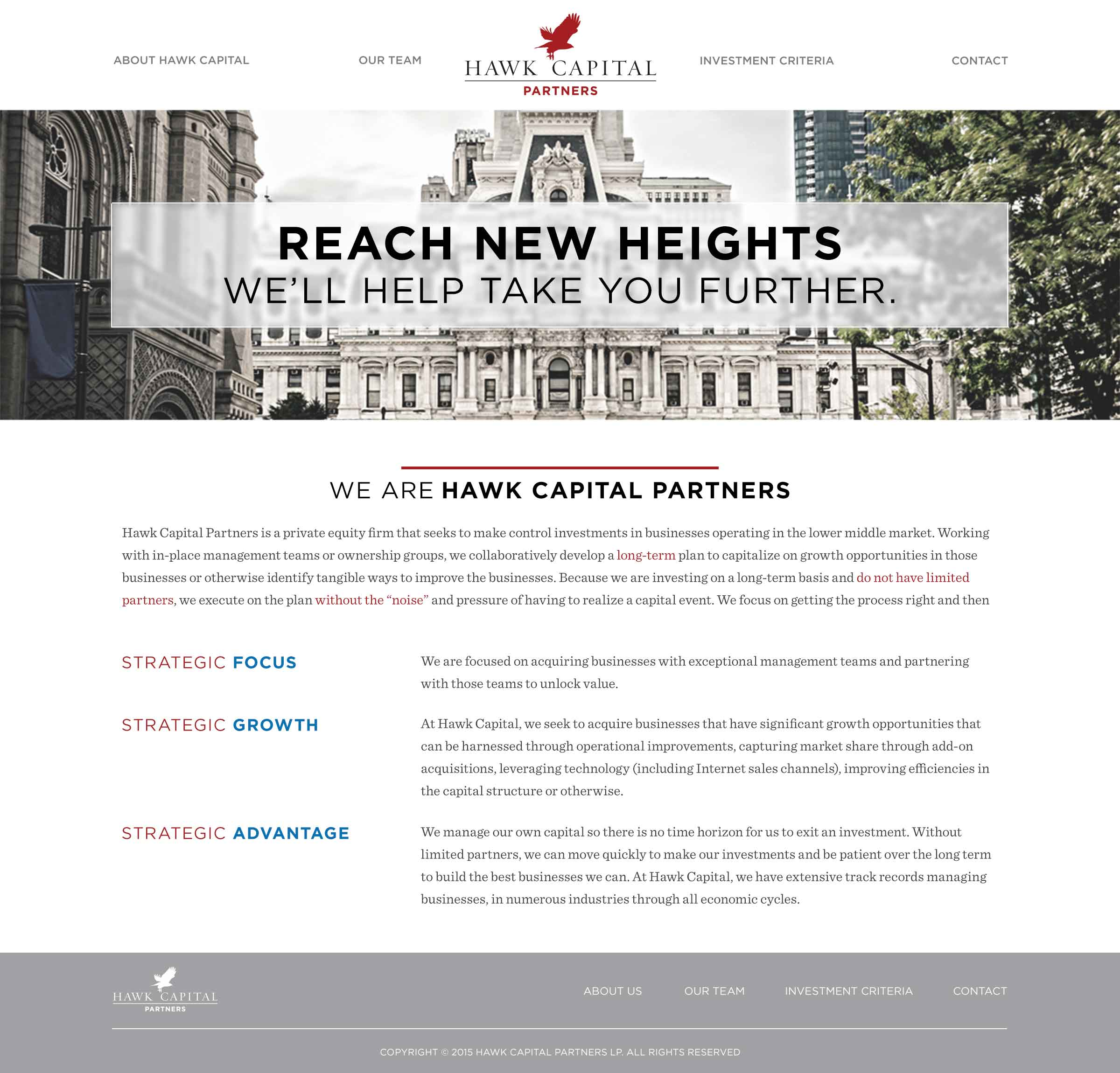 Hawk Capital home page design