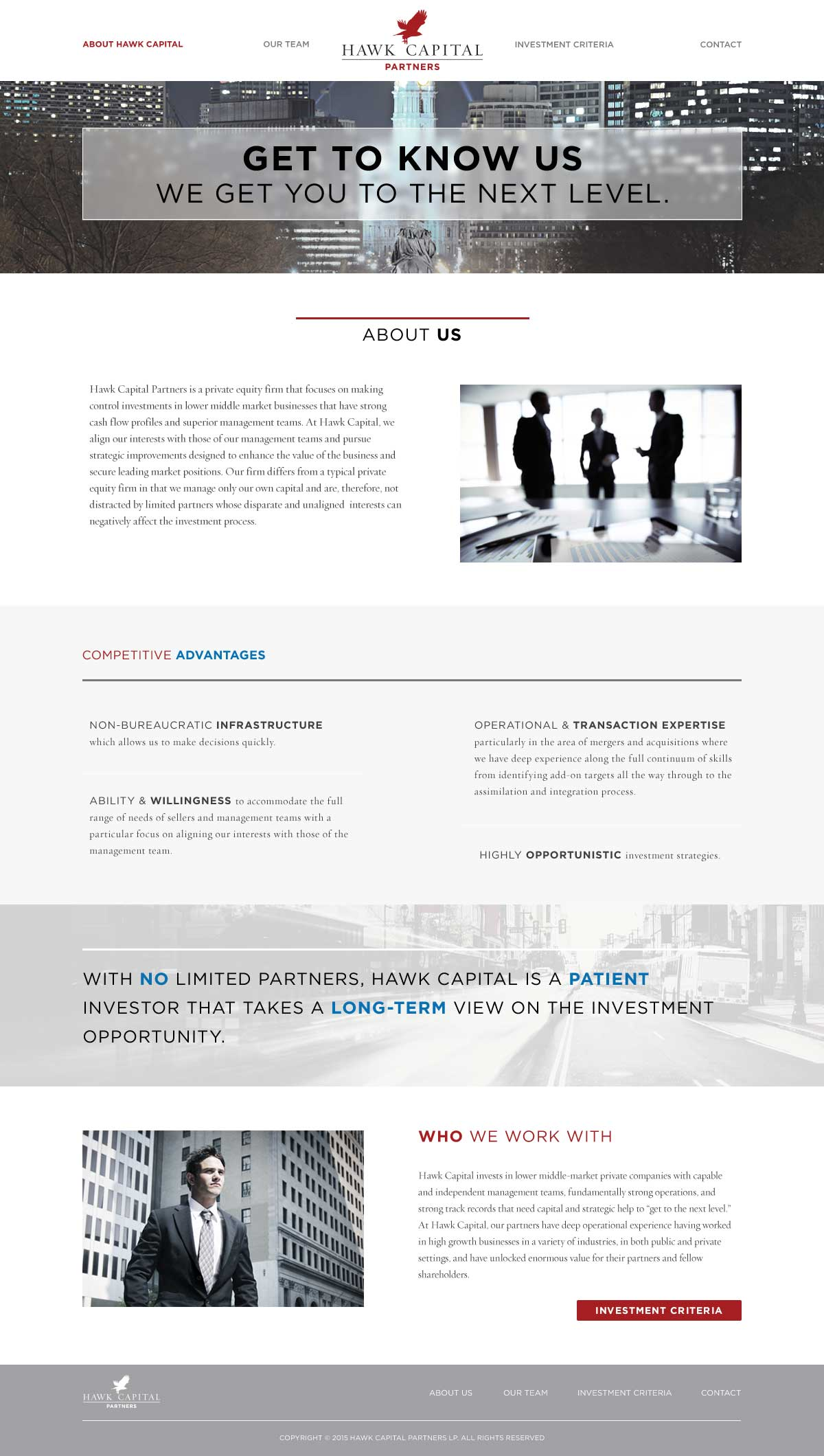Hawk Capital About Hawk Capital page design